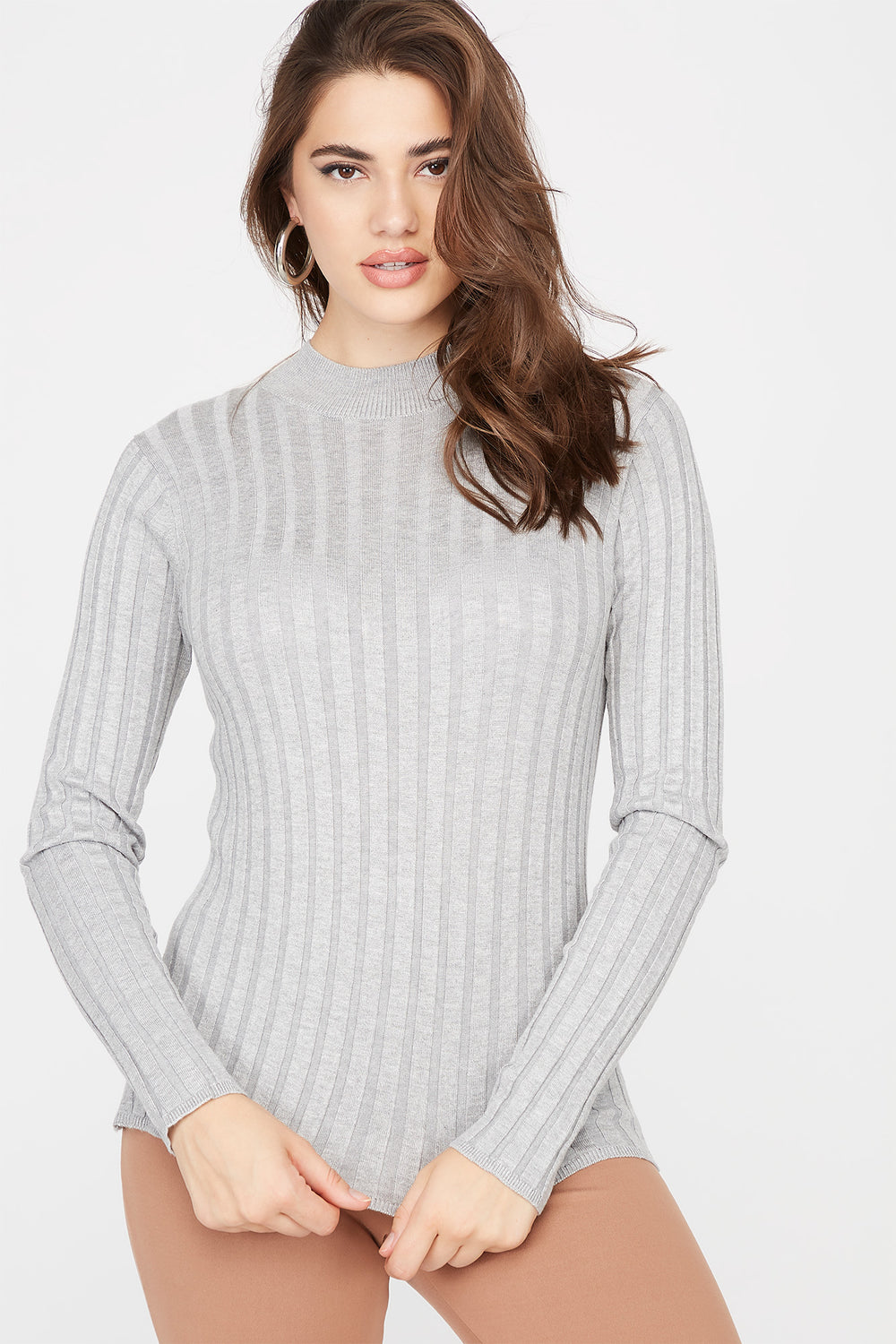 Ribbed Turtleneck Sweater Heather Grey
