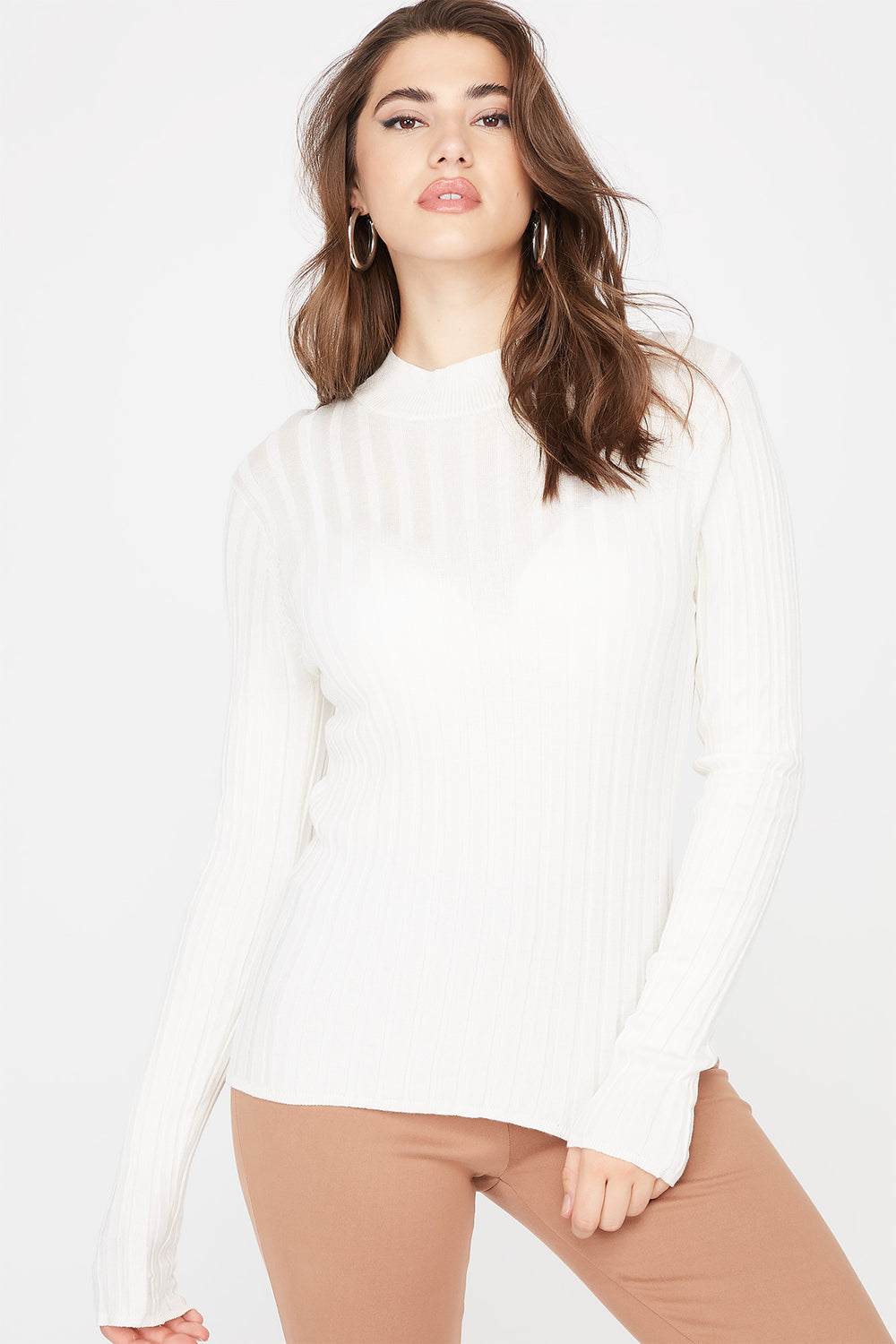 Ribbed Turtleneck Sweater Off White