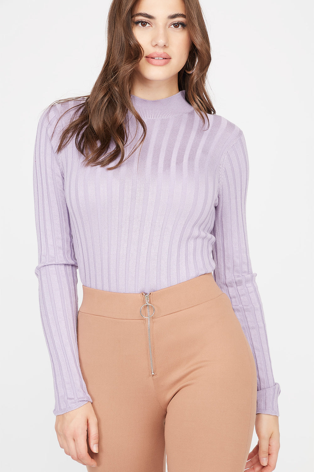 Ribbed Turtleneck Sweater Lilac