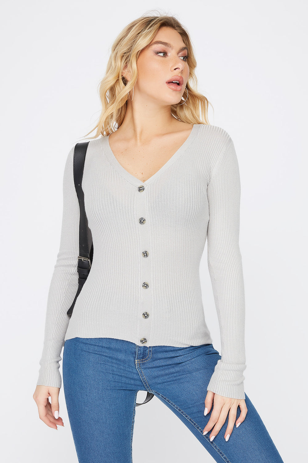 Ribbed V-Neck Button Long Sleeve Heather Grey