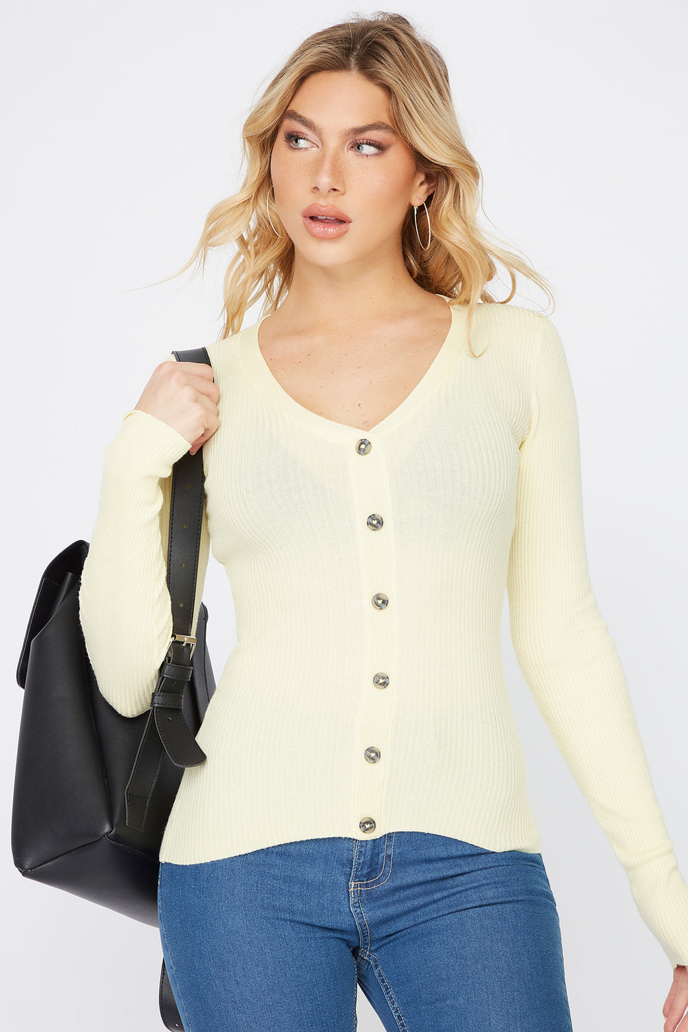Ribbed V-Neck Button Long Sleeve Pale Yellow
