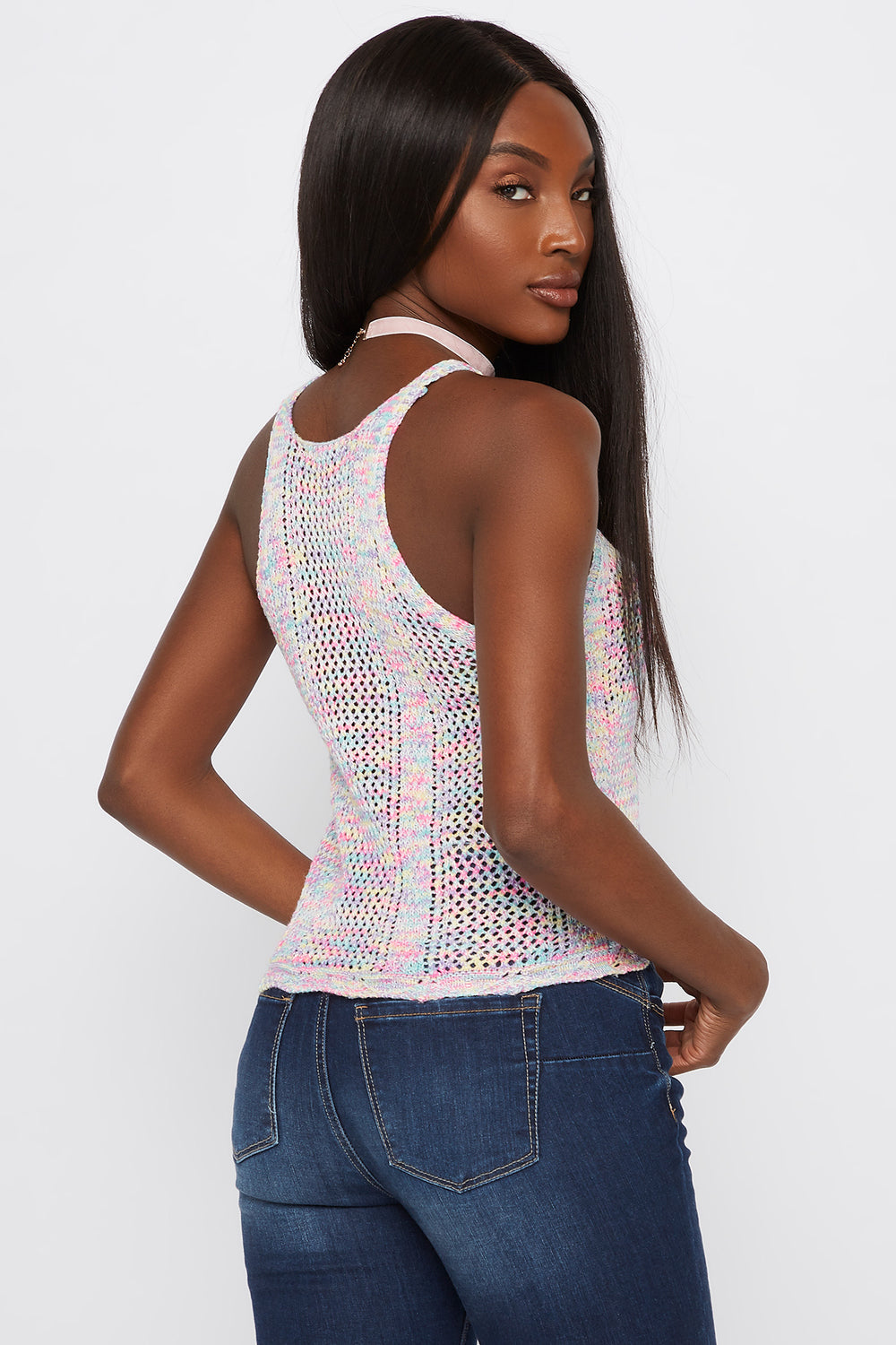 Multicoloured V-Neck Crochet Tank Multi