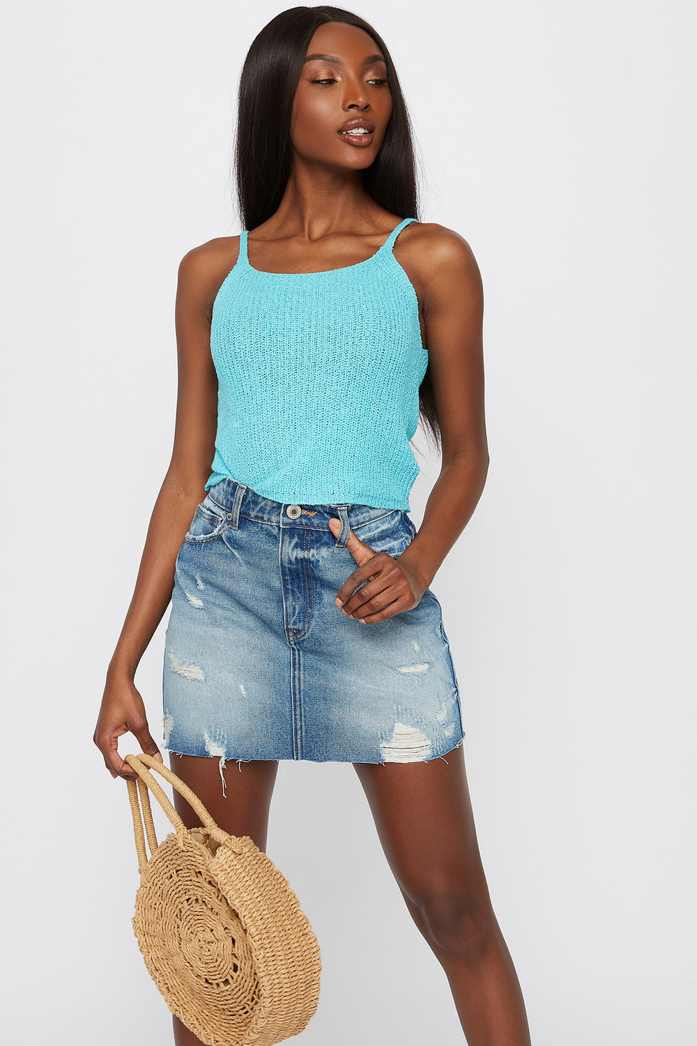 Knit Cropped Scoop Neck Tank Turquoise