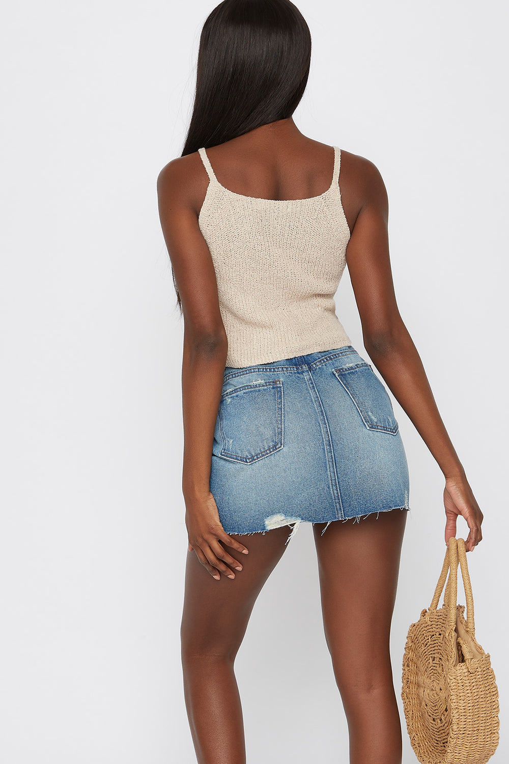 Knit Cropped Scoop Neck Tank Taupe