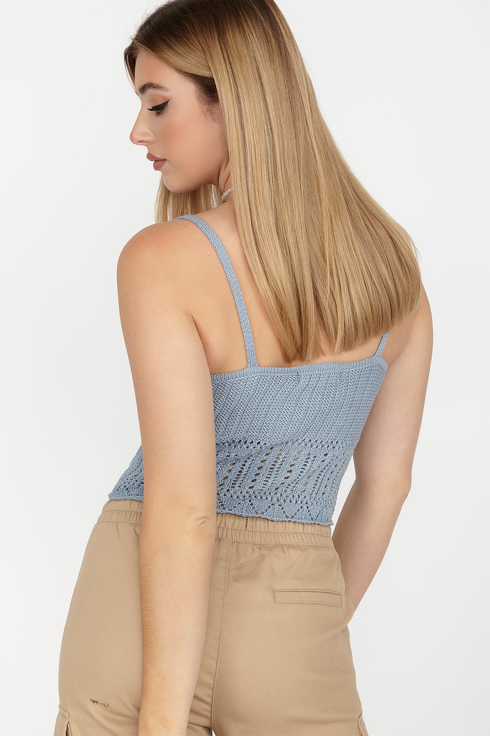 V-Neck Crochet Cropped Tank Light Blue