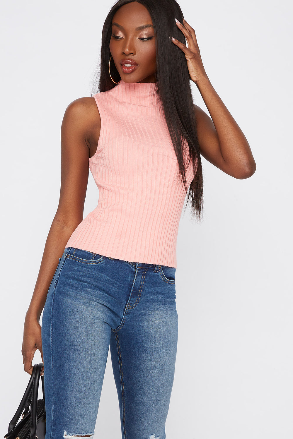 Ribbed Mock Neck Sleeveless Top Neon Pink