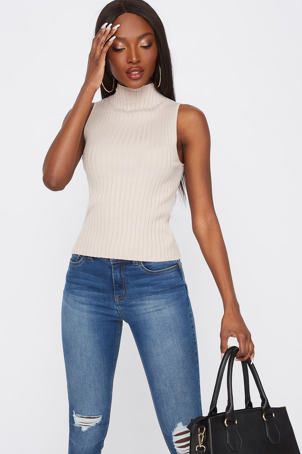 Ribbed Mock Neck Sleeveless Top Taupe