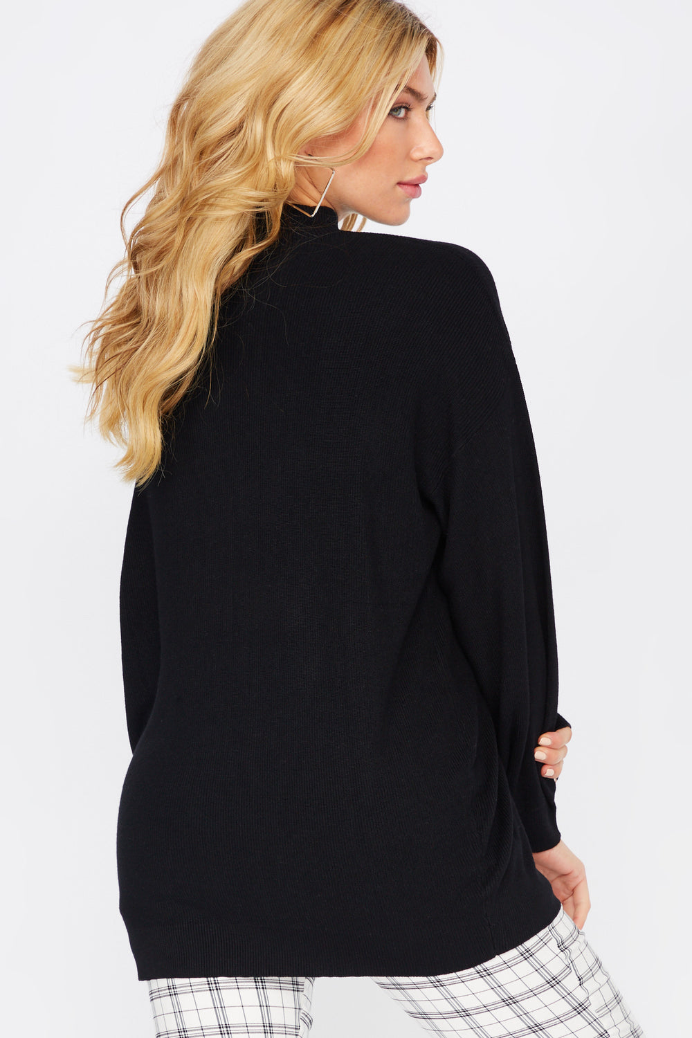 Asymmetrical Cold Shoulder Mock Neck Sweater Black