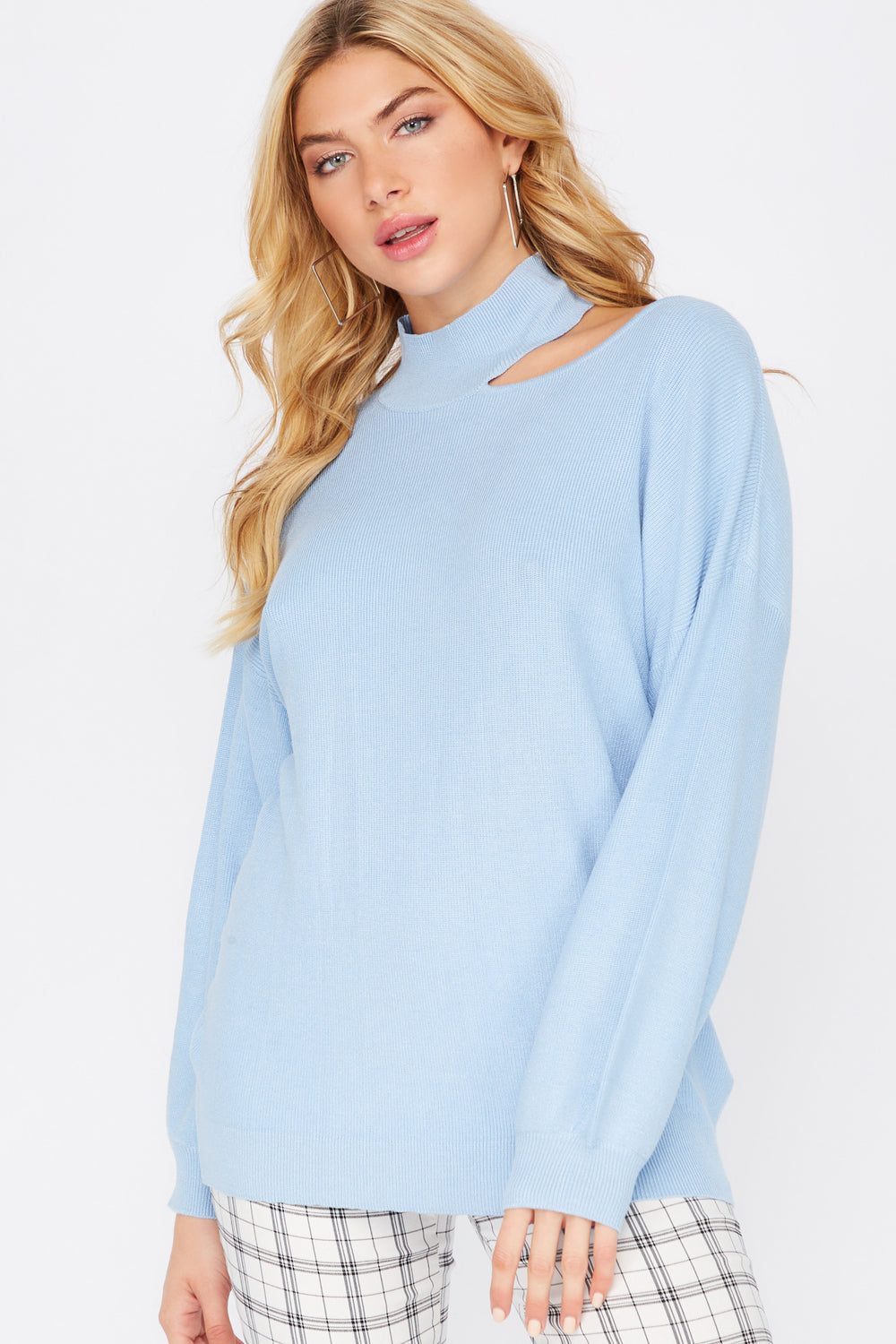 Asymmetrical Cold Shoulder Mock Neck Sweater Blue