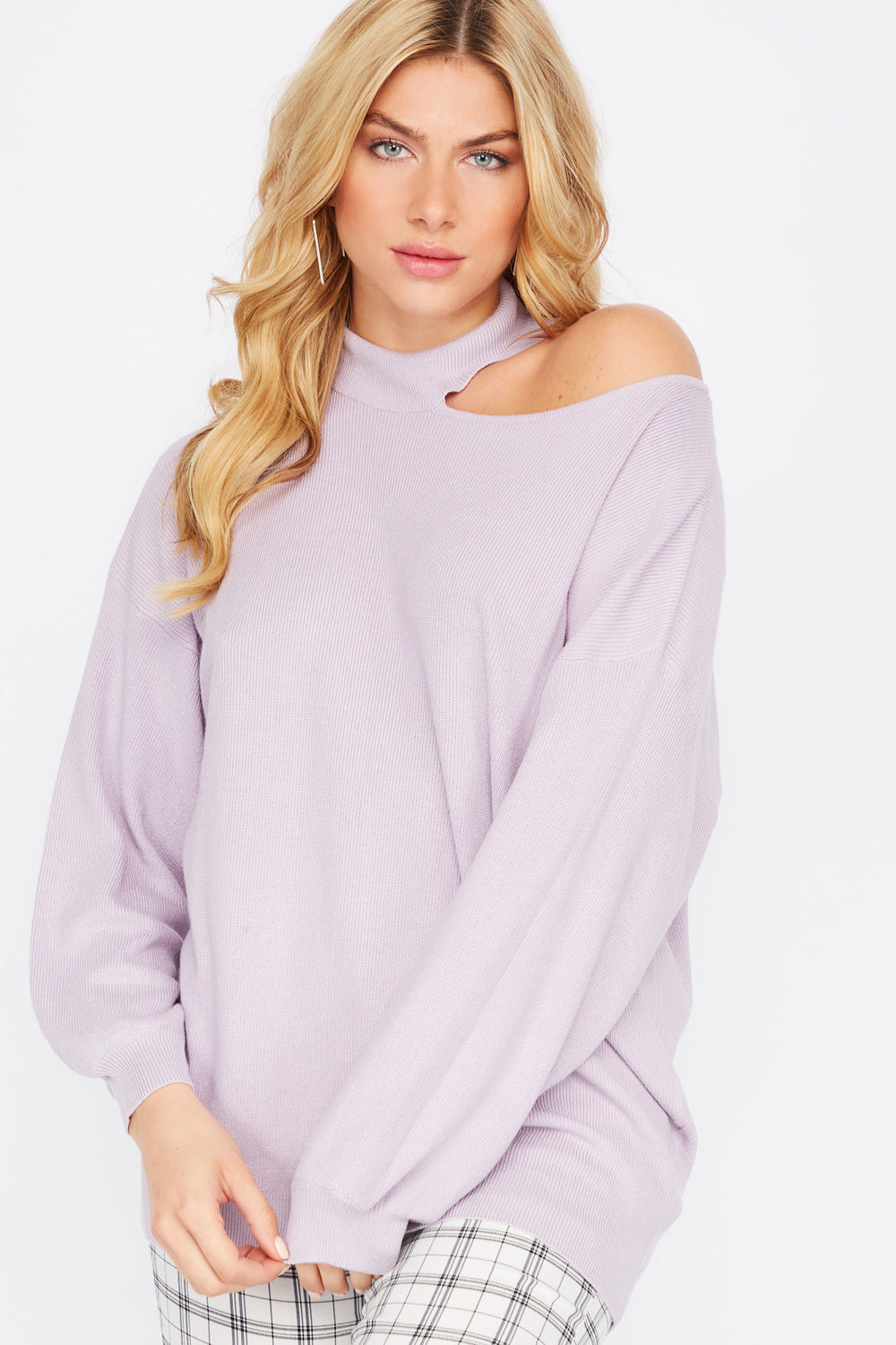 Asymmetrical Cold Shoulder Mock Neck Sweater Lilac