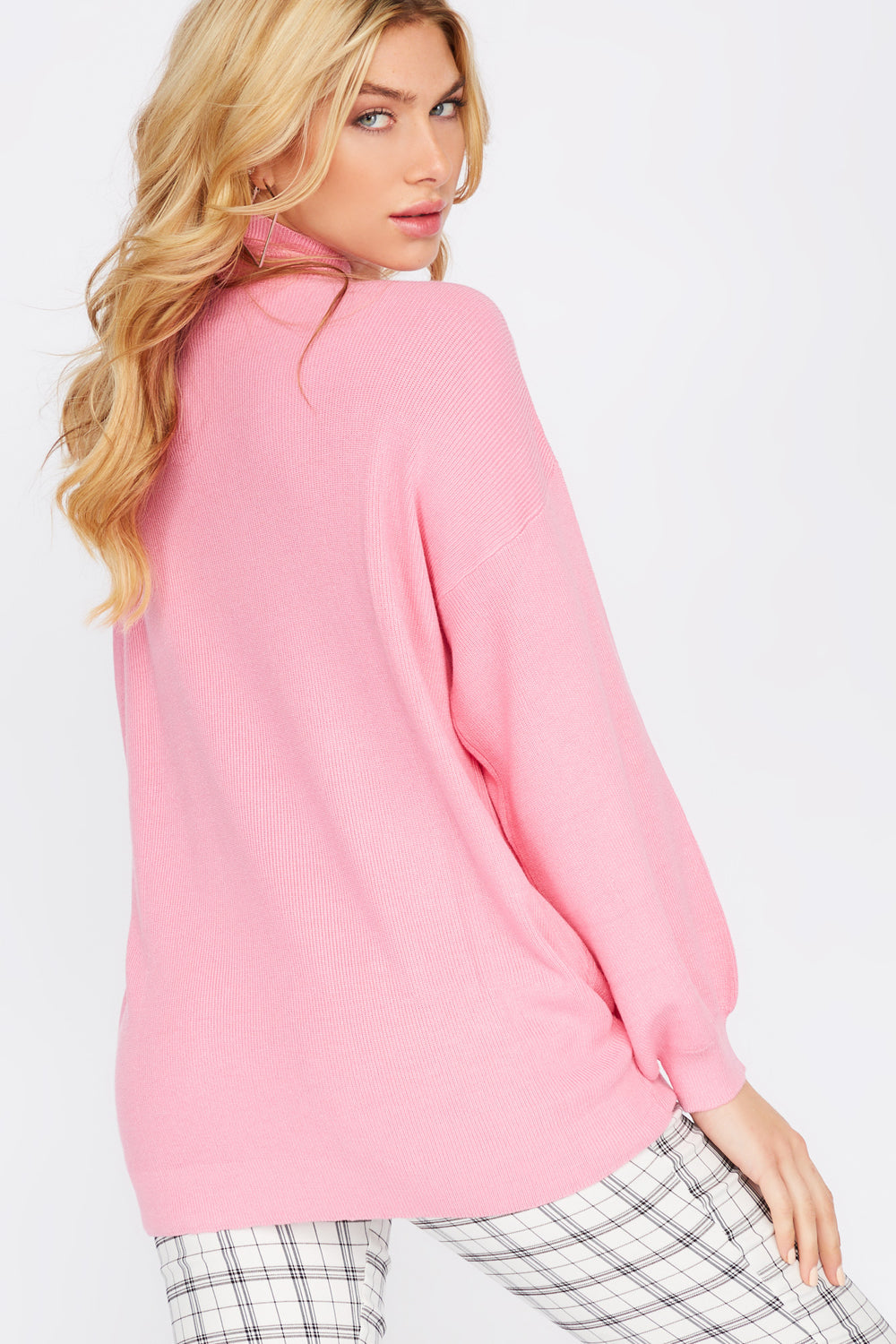 Asymmetrical Cold Shoulder Mock Neck Sweater Rose