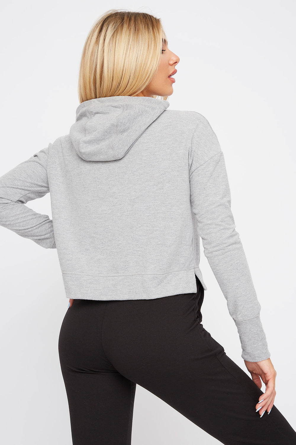 Hooded Drawstring Active Long Sleeve Heather Grey