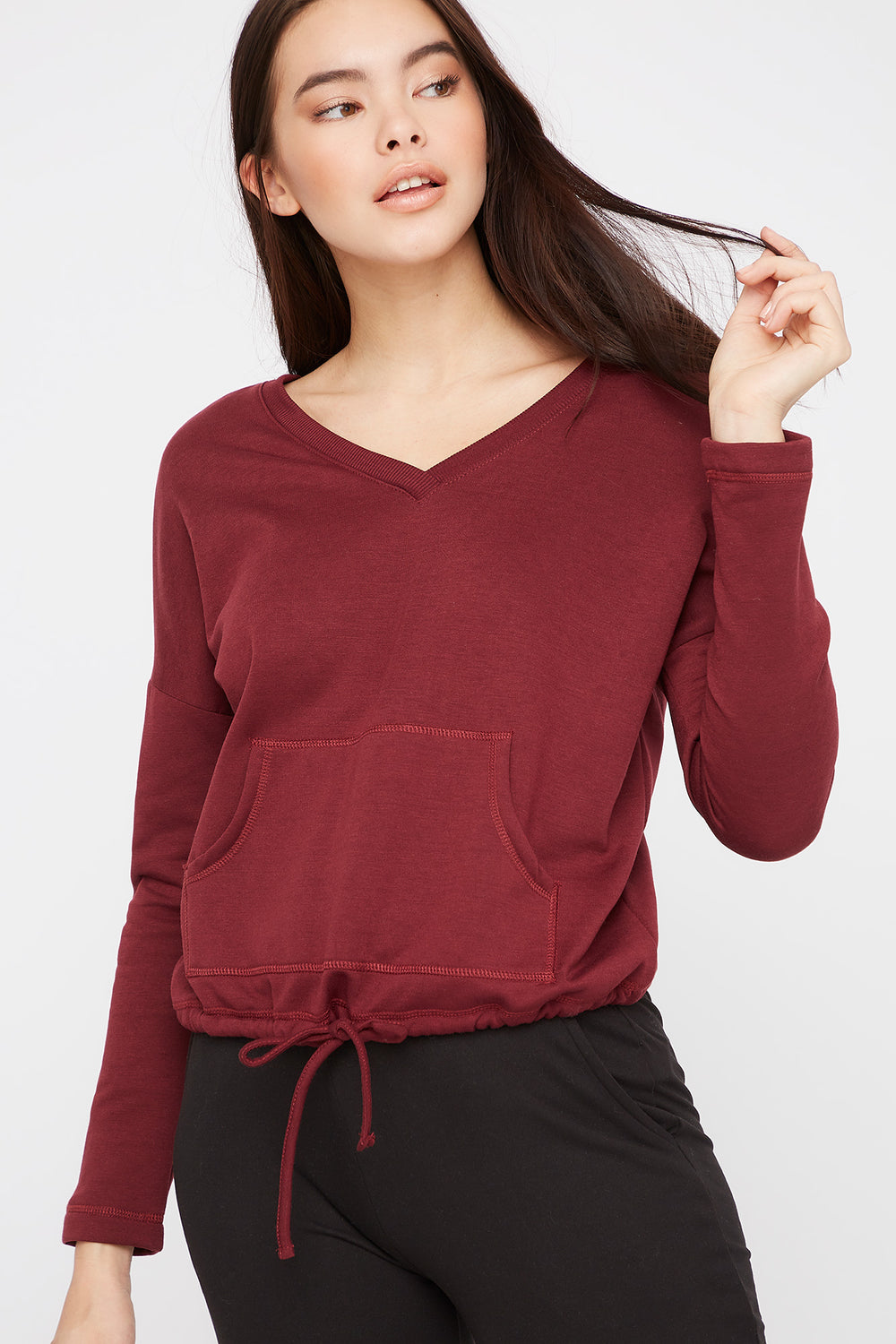 Double V-Neck Fleece Sweater Dark Red