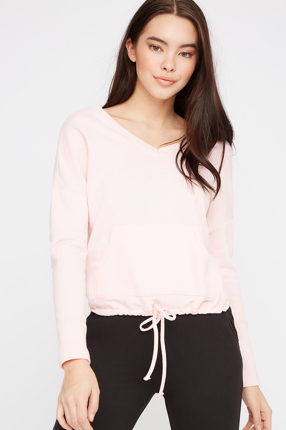 Double V-Neck Fleece Sweater Pink
