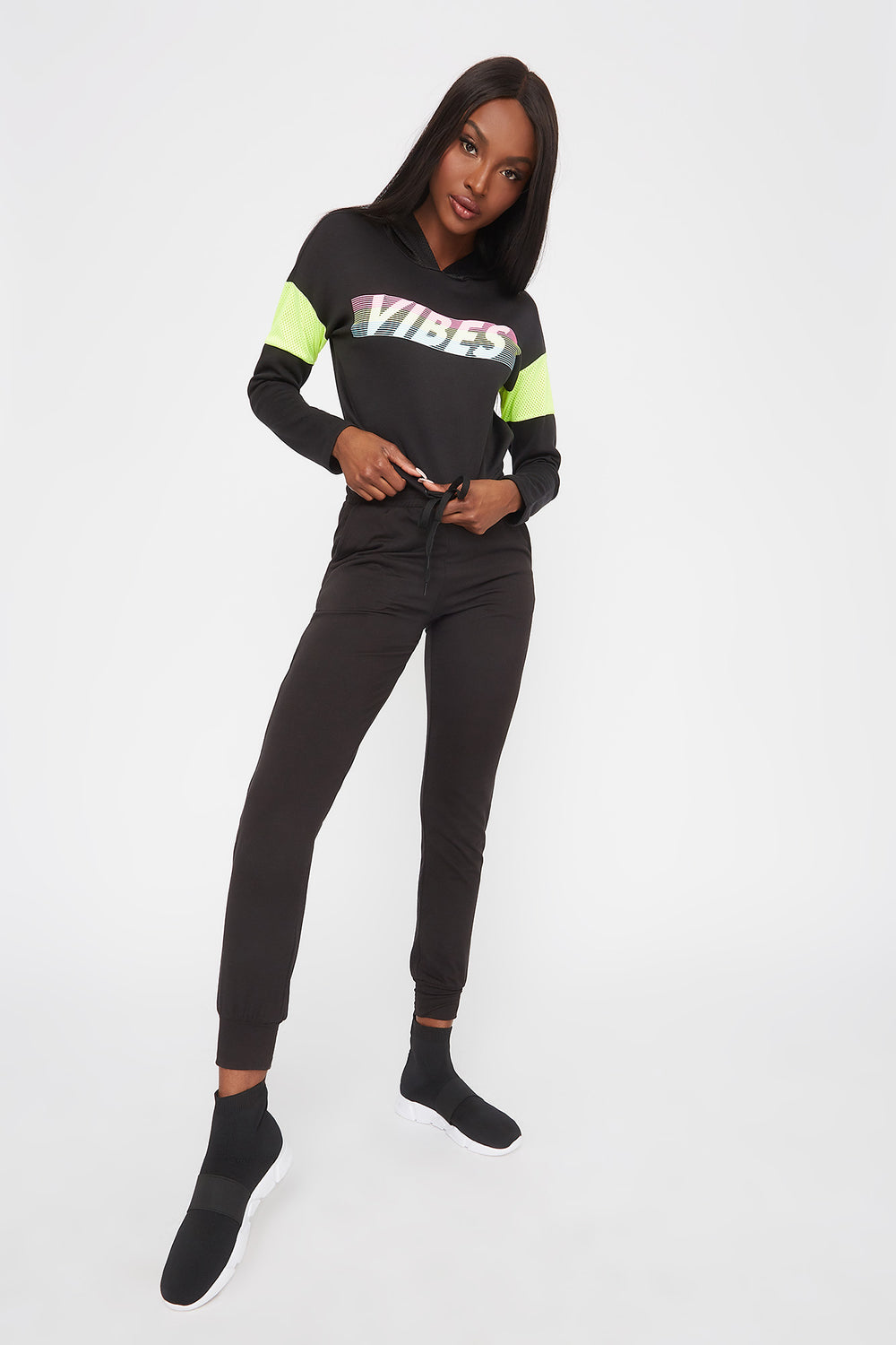 Graphic Mesh Insert Cropped Active Hoodie Black