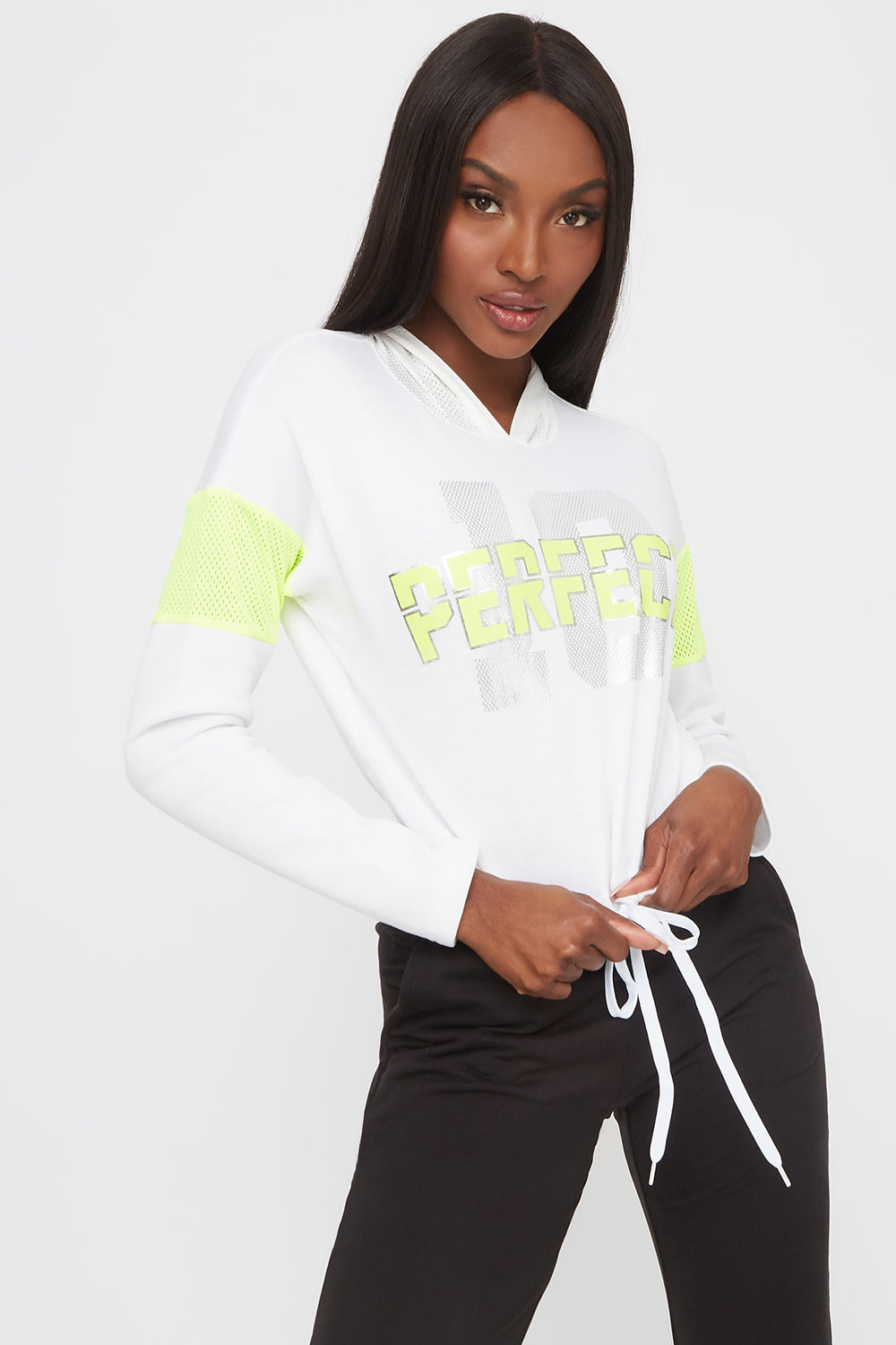 Graphic Mesh Insert Cropped Active Hoodie White
