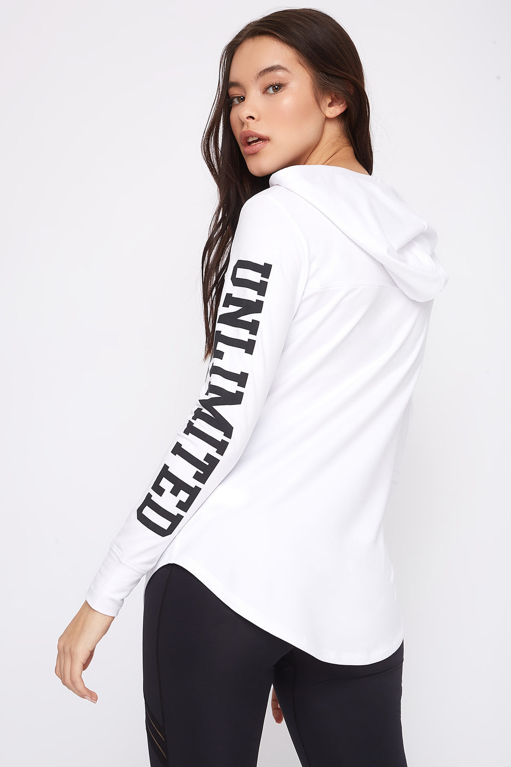 Graphic Hooded Tunic Long Sleeve White