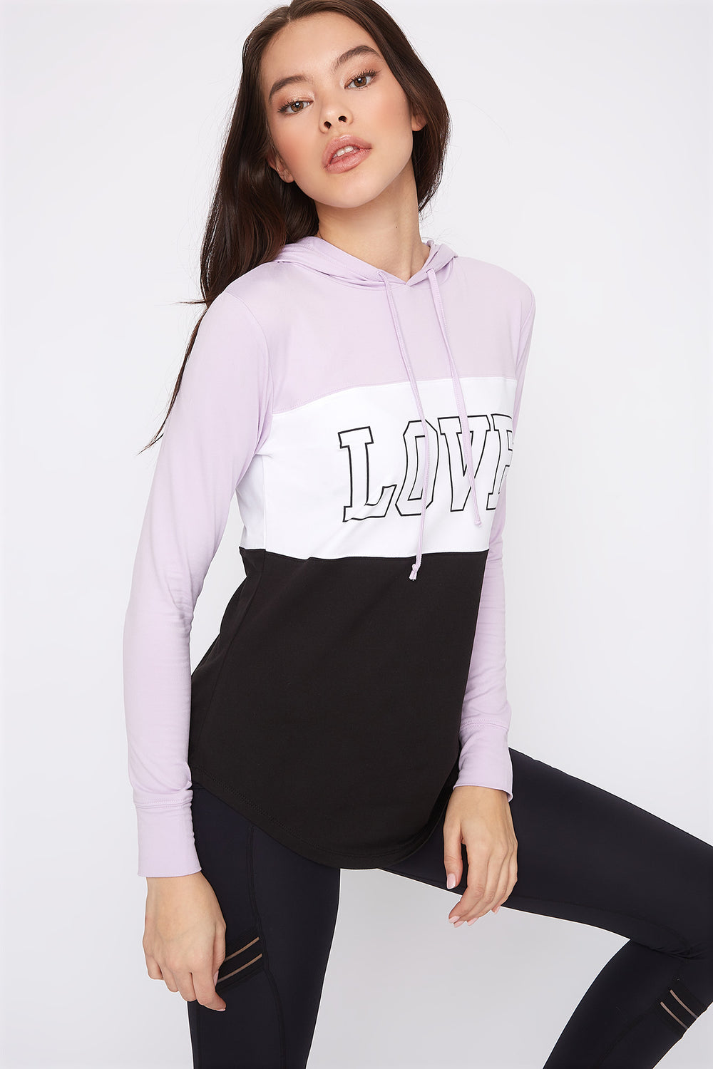 Graphic Hooded Tunic Long Sleeve Lilac
