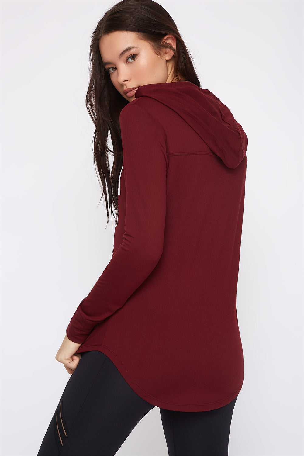 Graphic Hooded Tunic Long Sleeve Burgundy