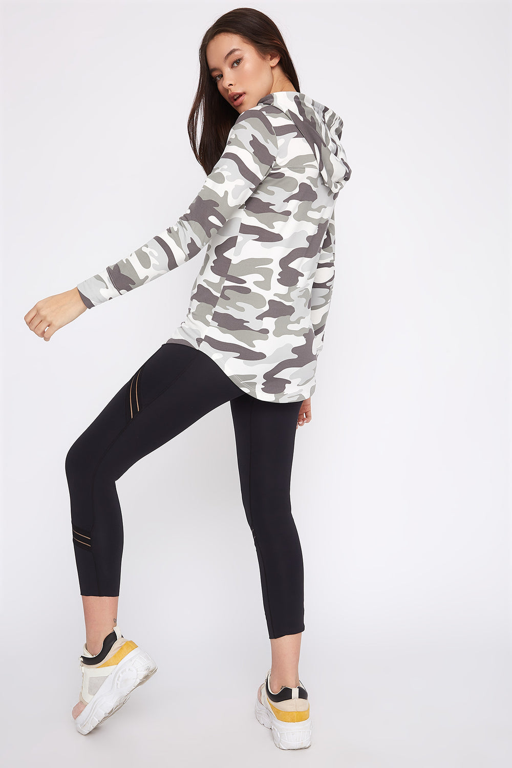 Graphic Hooded Tunic Long Sleeve Black with White