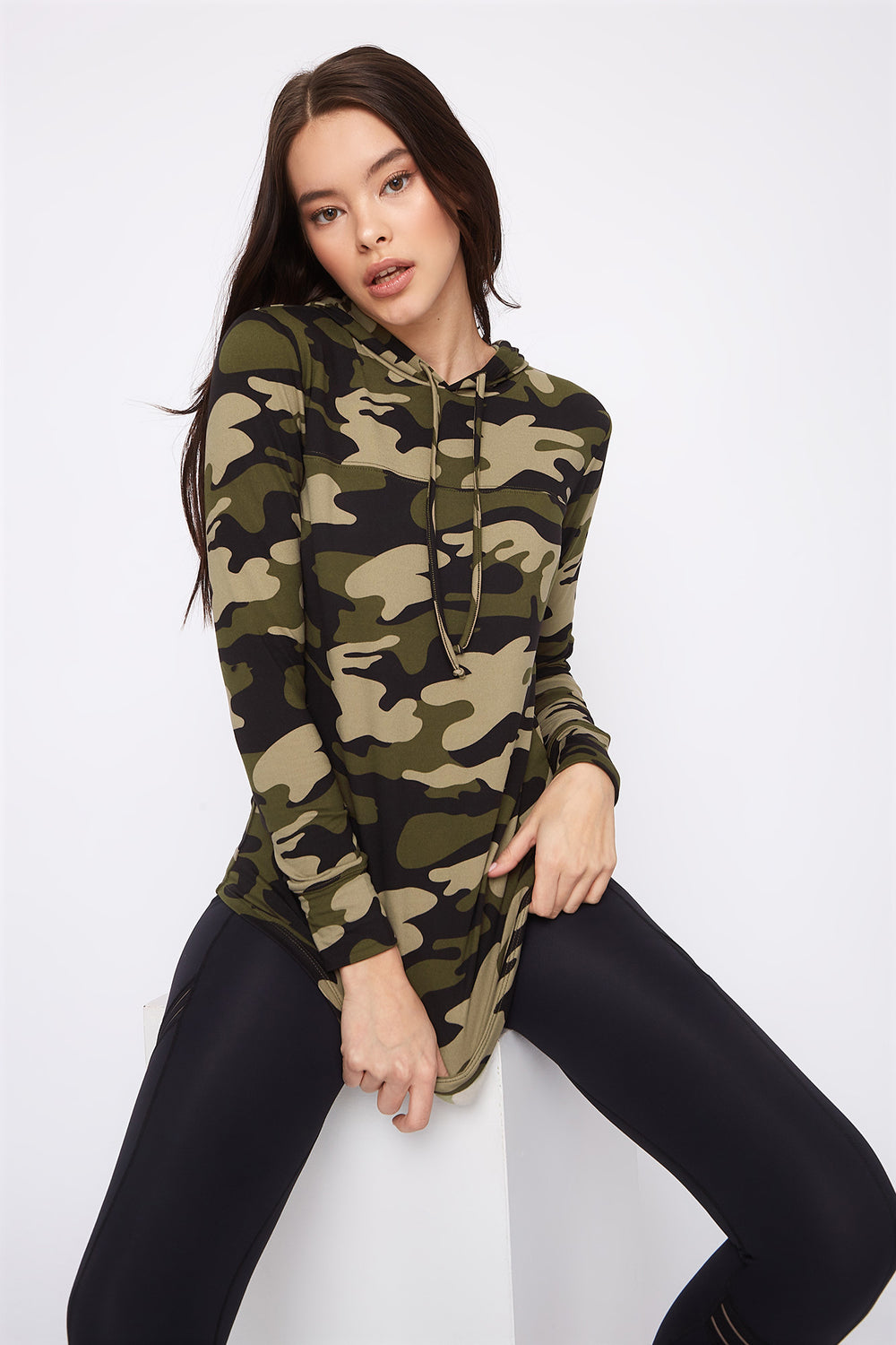 Graphic Hooded Tunic Long Sleeve Camouflage
