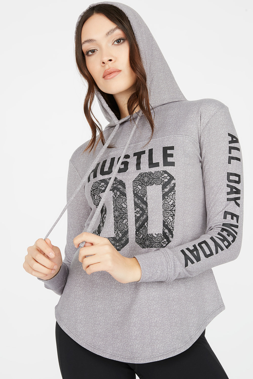 Soft Hustle Graphic Drawstring Hooded Long Sleeve Top Heather Grey