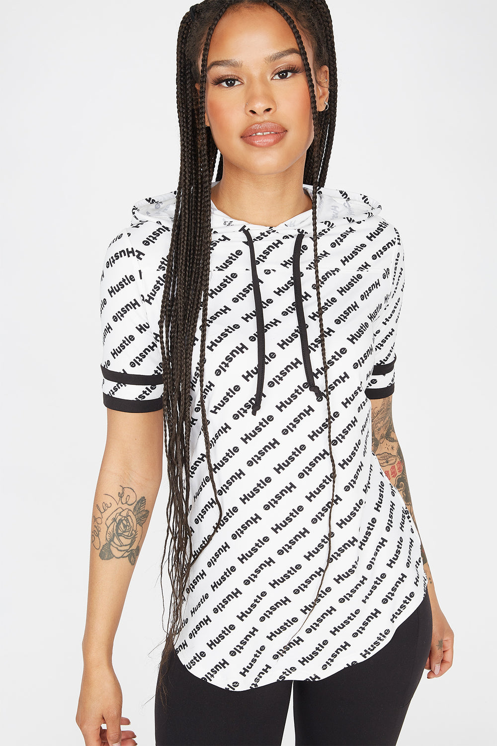 Soft Hustle Graphic Hooded T-Shirt White