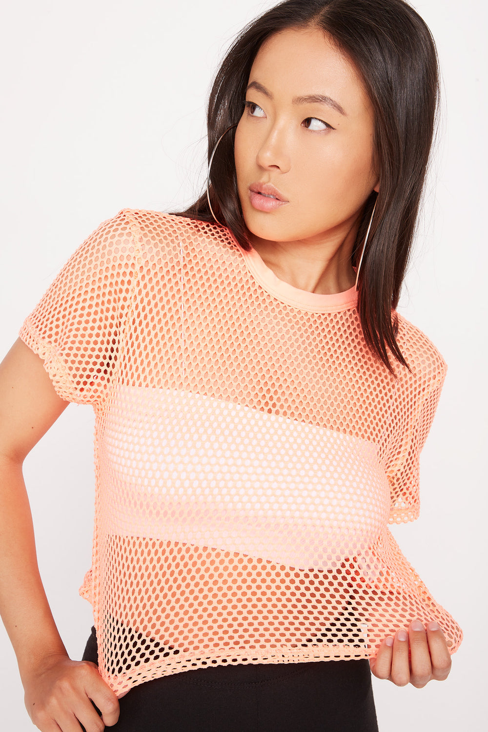 Cropped Net T-Shirt Coral