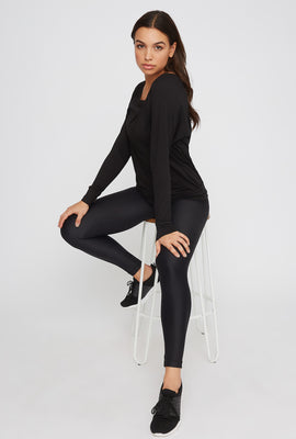 Soft Mesh Back Crewneck Active Long Sleeve