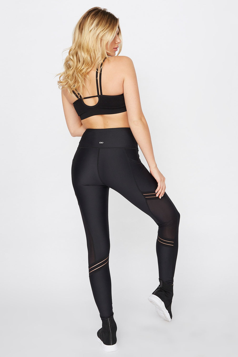 Infinite High-Rise Mesh Slice Active Legging Black