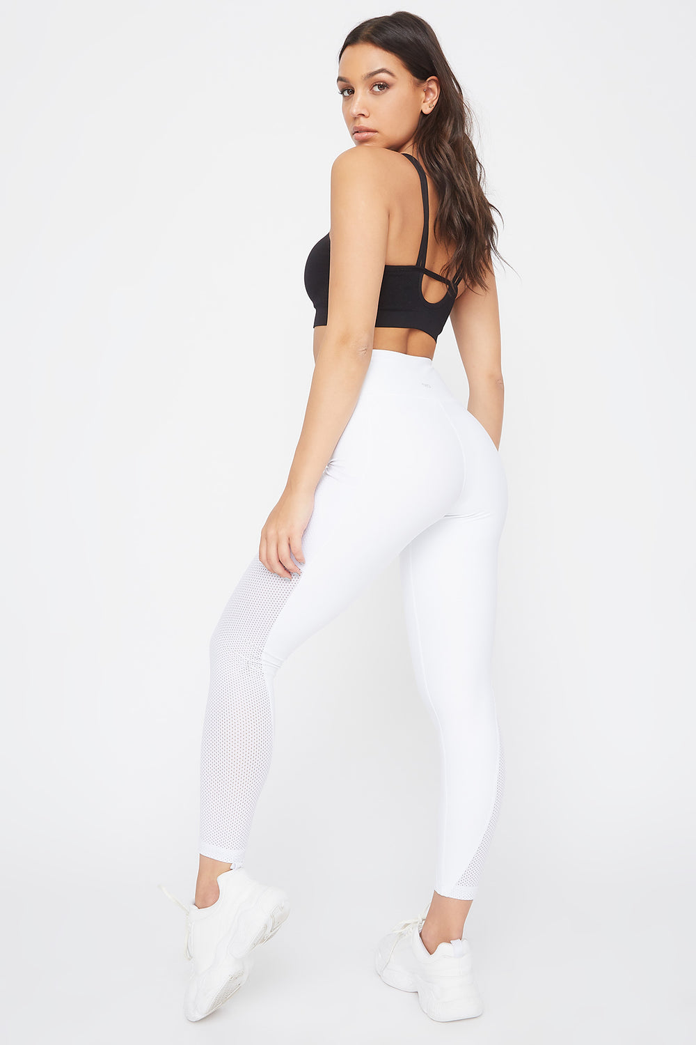 Infinite High-Rise Mesh Insert Active Legging White