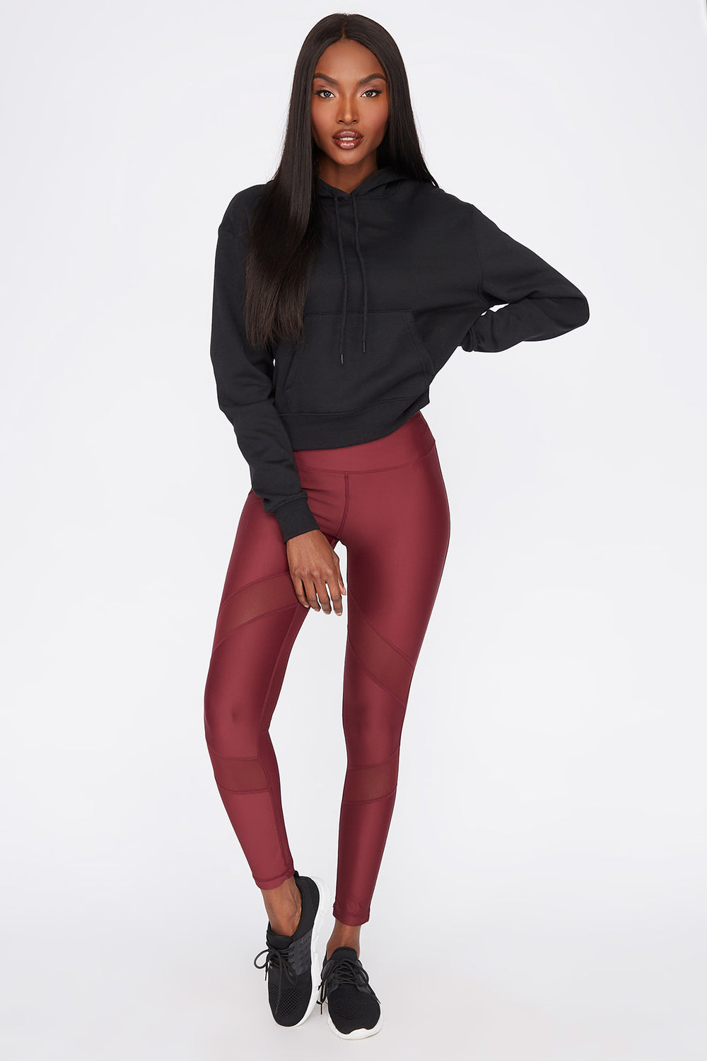 Infinite High-Rise Mesh Panel Active Legging Dark Red