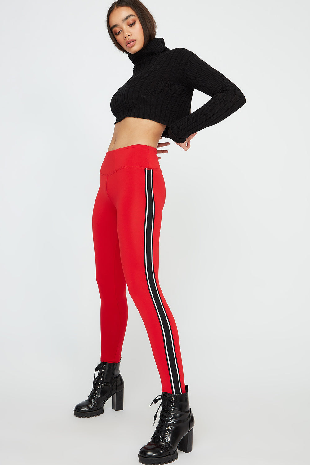 Infinite Side Stripe Active Legging Red