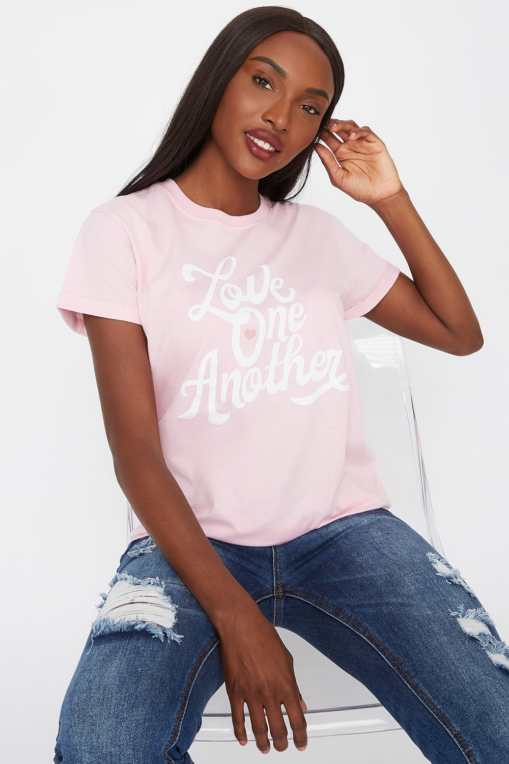 Eco-Friendly Organic Cotton Graphic Love One Another T-Shirt Light Pink