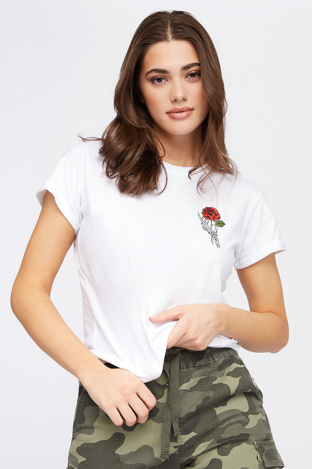 Skull Rose Graphic T-Shirt White