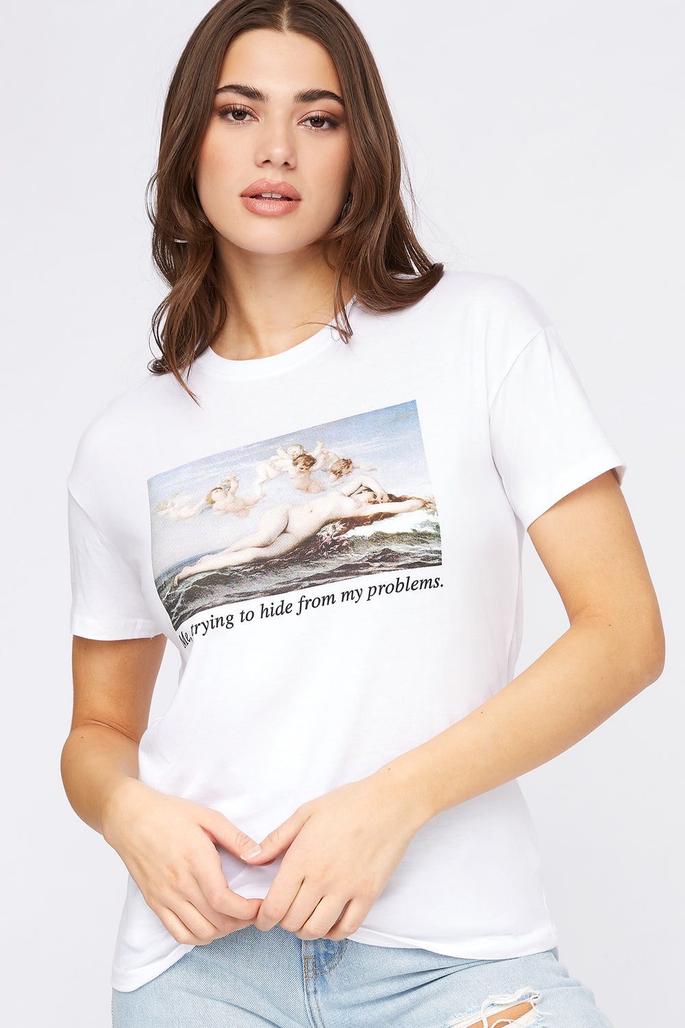 Camiseta Gráfica de Meme Hide From My Problems Blanco