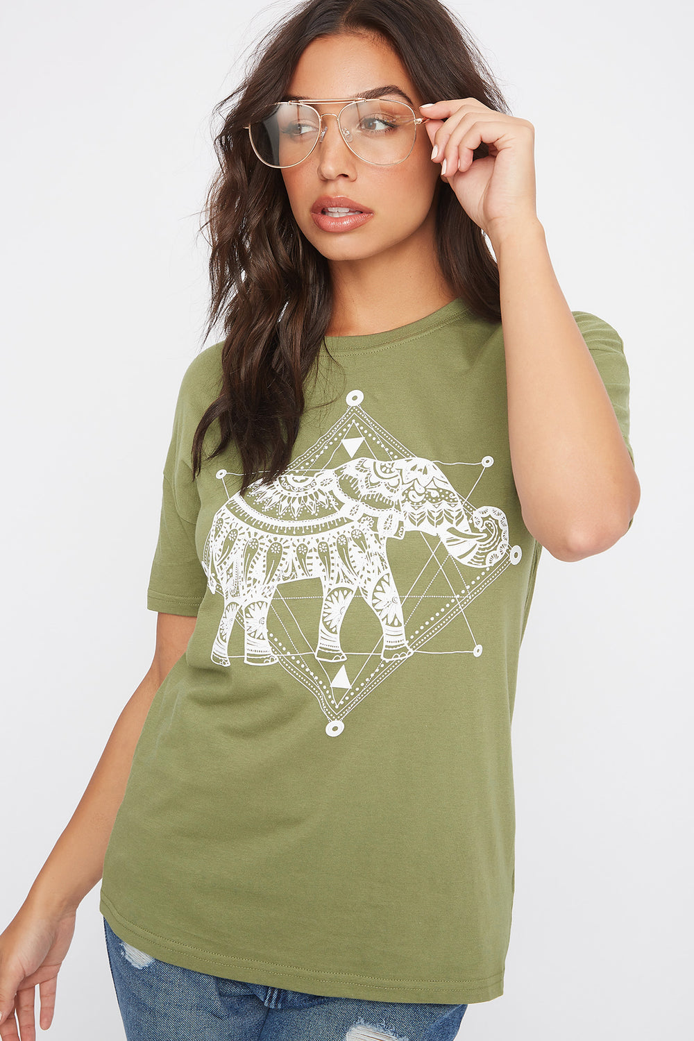 Graphic Mystic Elephant T-Shirt Dark Green
