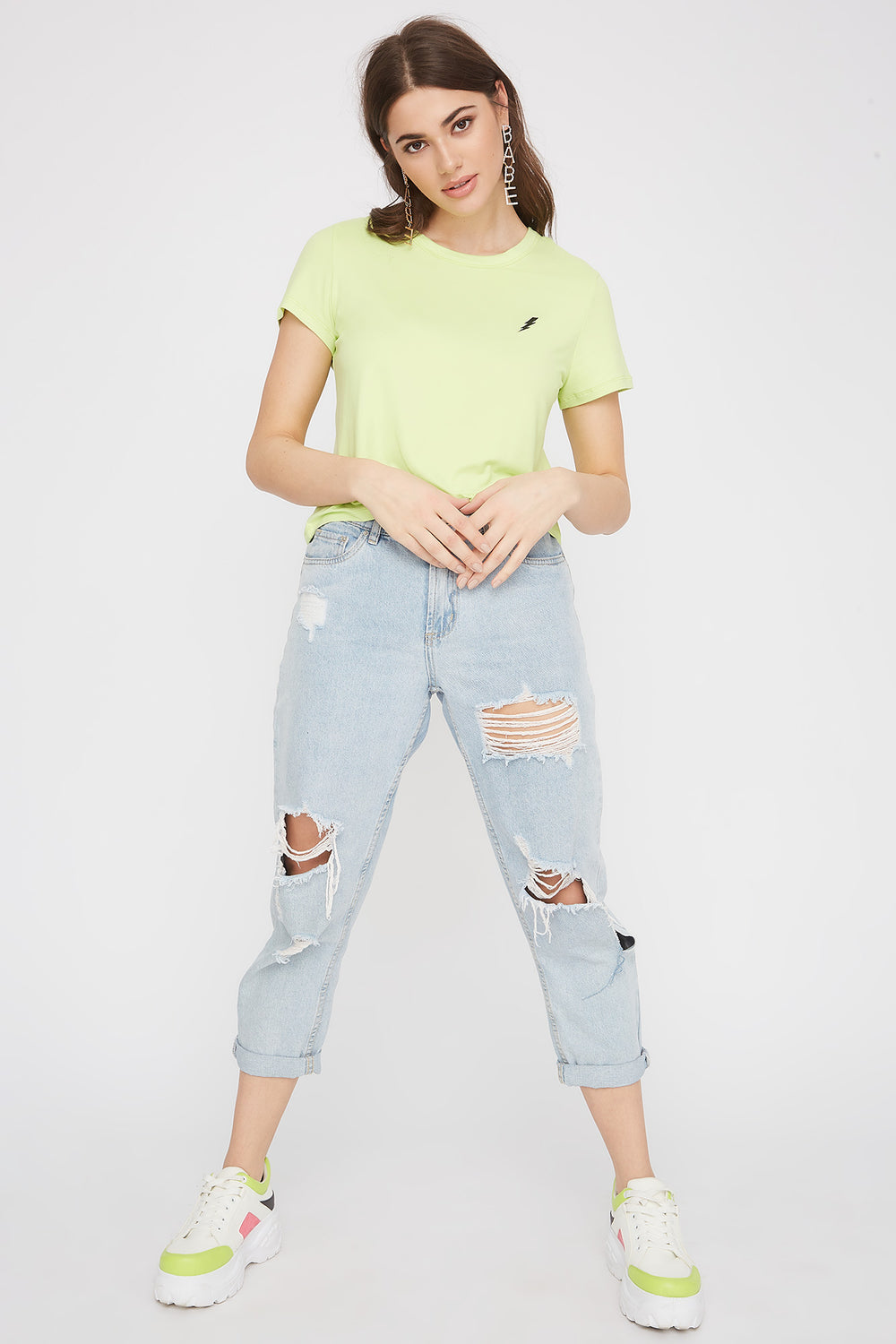 Soft Embroidered T-Shirt Neon Yellow