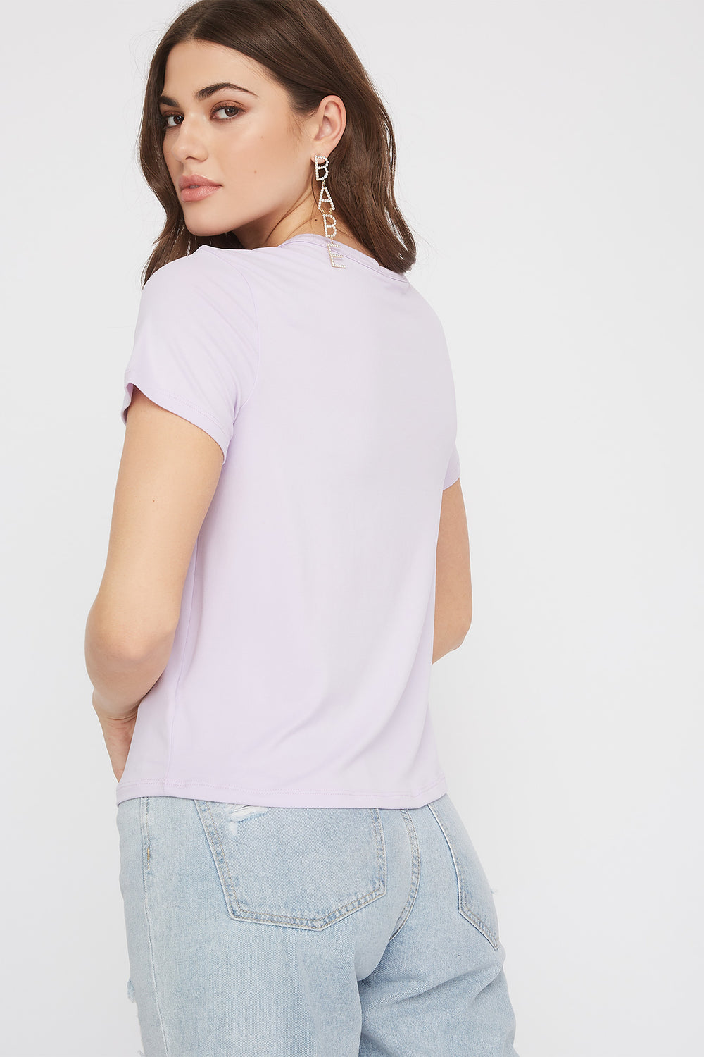 Soft Embroidered T-Shirt Lilac