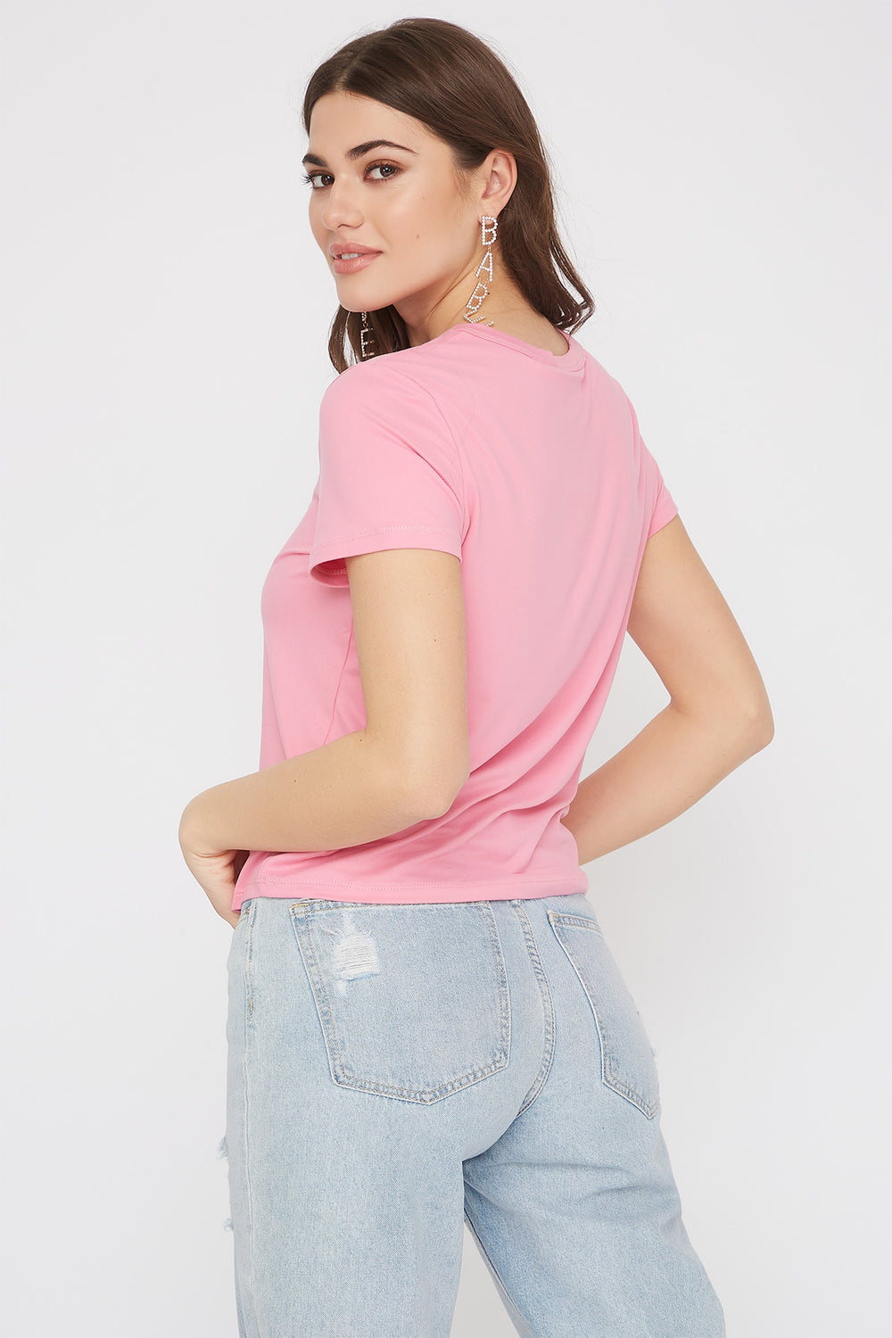 Soft Embroidered T-Shirt Rose