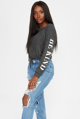 Soft Graphic Drawstring Sweatshirt