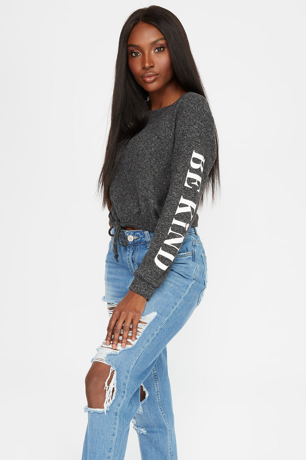 Soft Graphic Drawstring Sweatshirt Charcoal