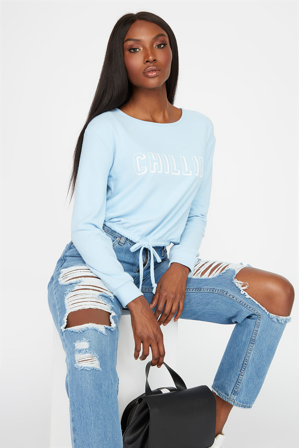Soft Graphic Drawstring Sweatshirt Light Blue