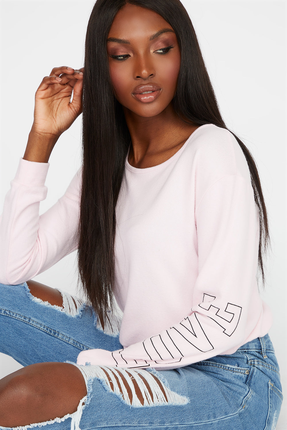 Soft Graphic Drawstring Sweatshirt Light Pink