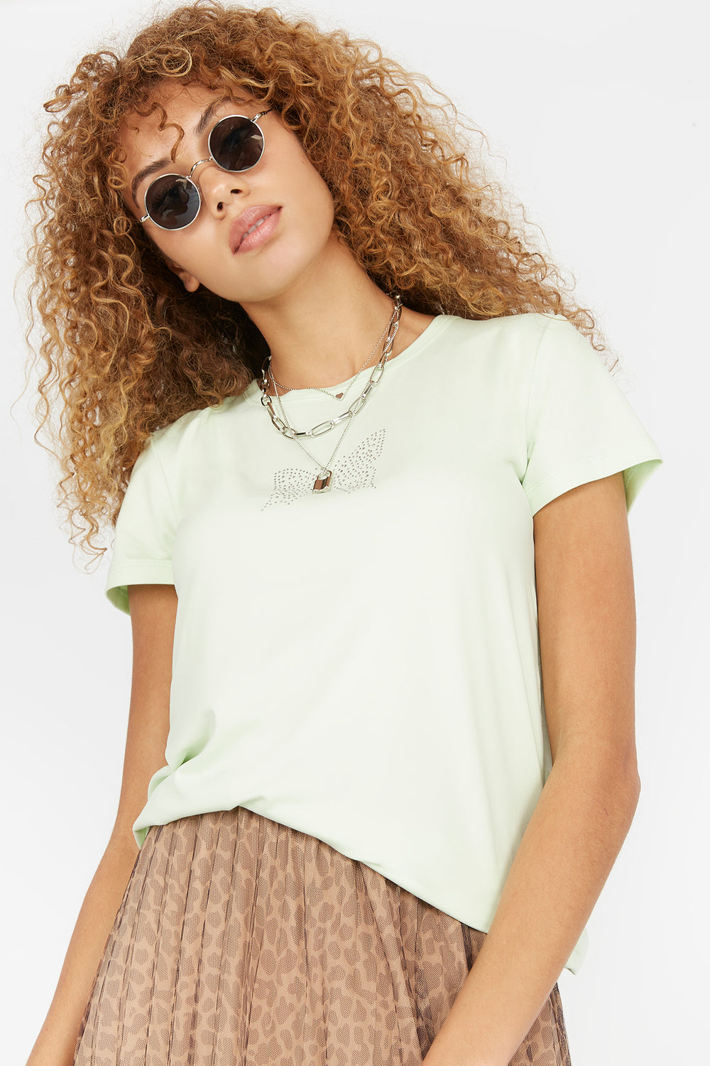 Soft Graphic Butterfly T-Shirt Sage