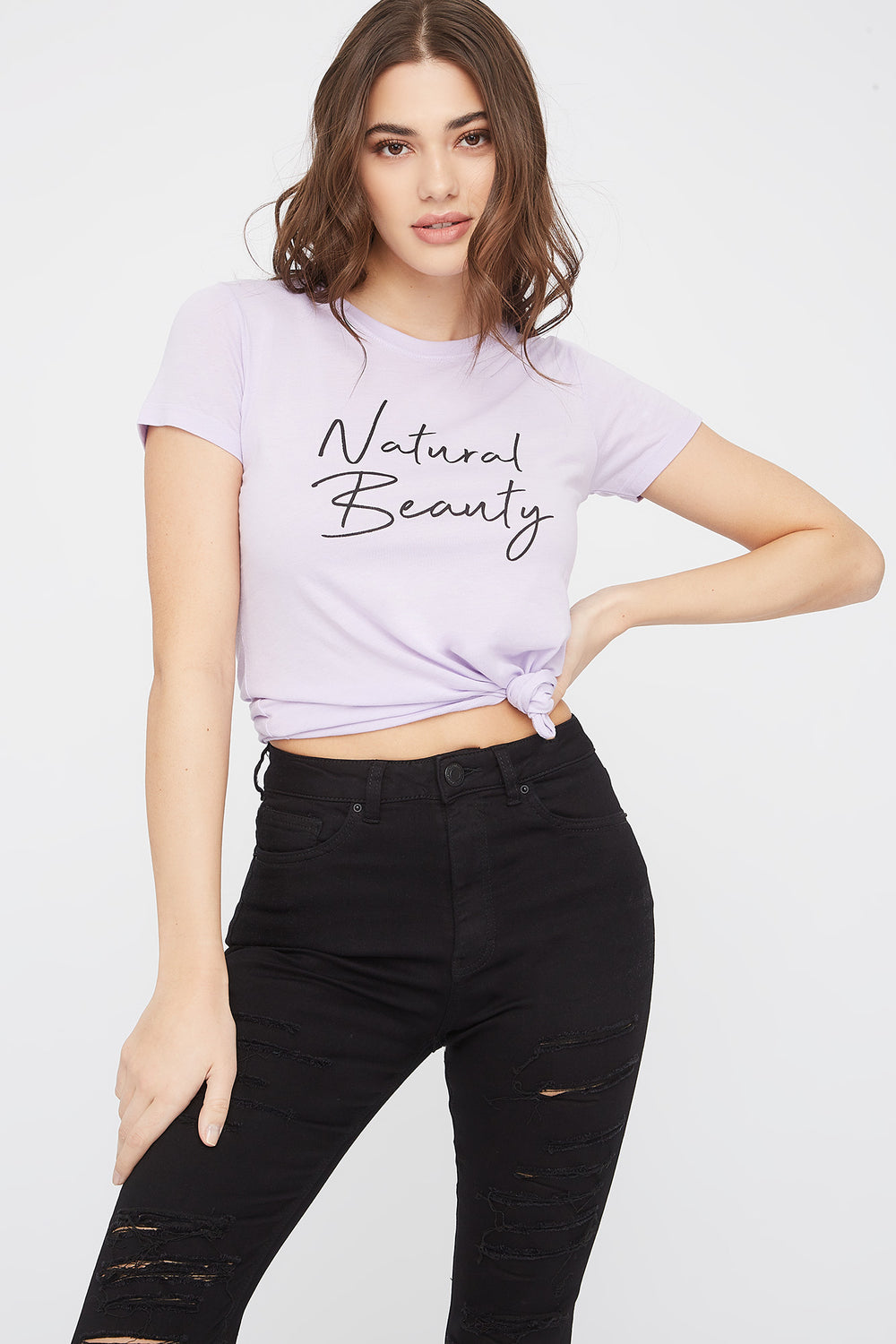 Graphic Fitted T-Shirt Lilac