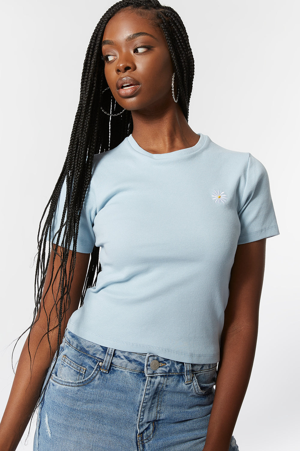 Ribbed Rhinestone Flower Embroidered T-Shirt Light Blue