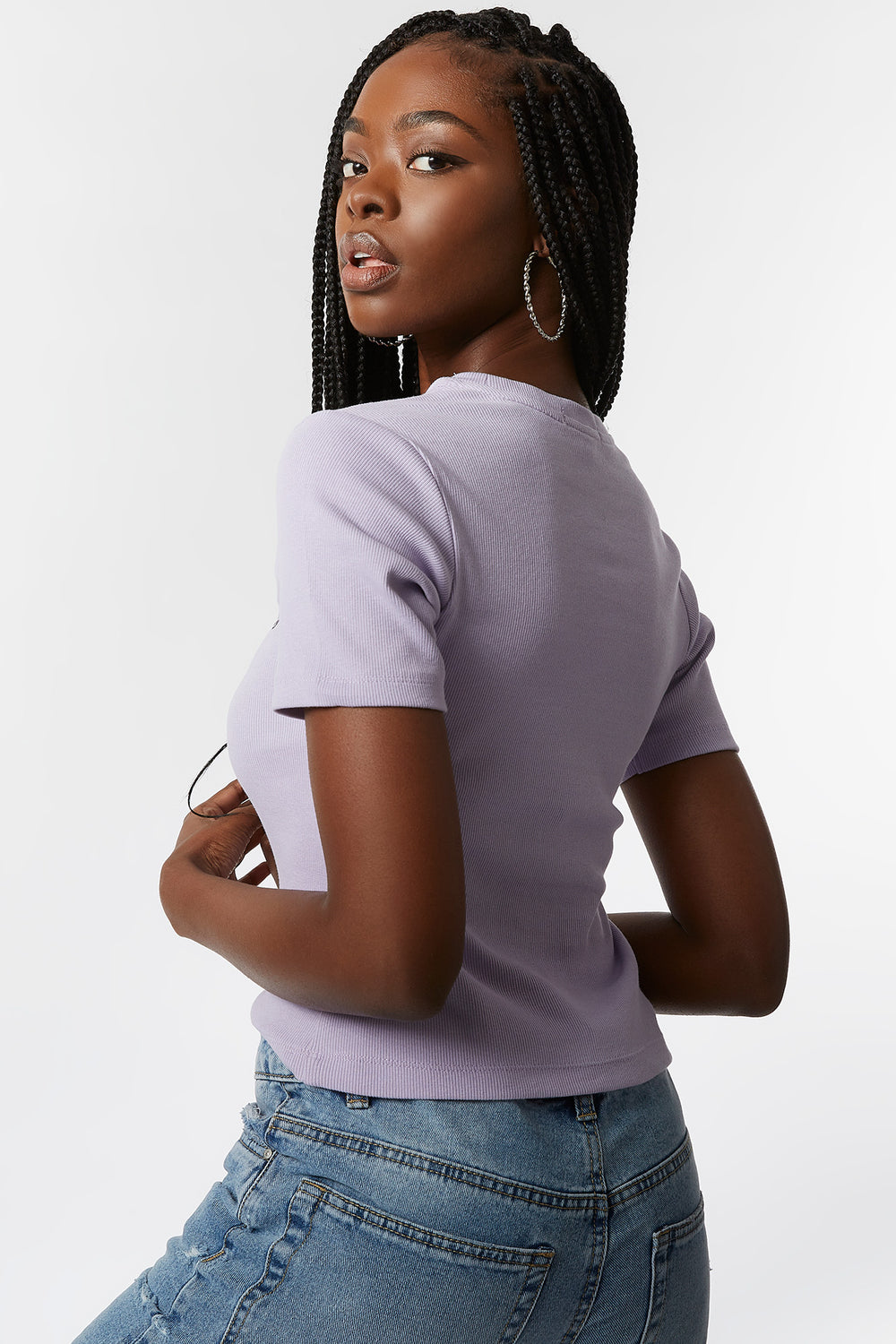 Ribbed Rhinestone Good Vibes Embroidered T-Shirt Lilac