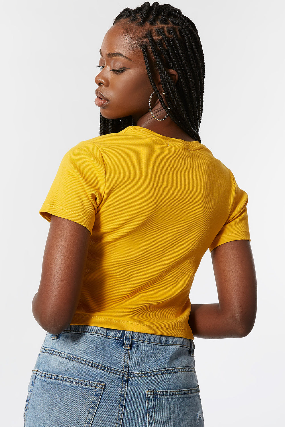 Ribbed Rhinestone Queen Embroidered T-Shirt Mustard