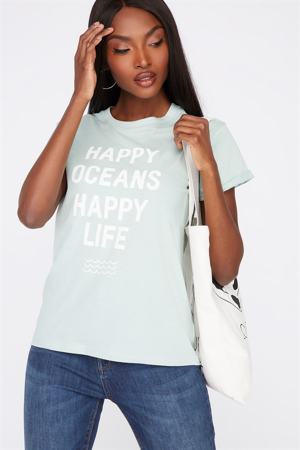 Eco-Friendly Graphic Organic Cotton T-Shirt Turquoise